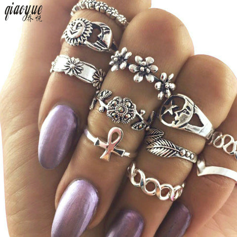 11pcs/Set Vintage Beach Ring Punk Hollow Moon Sun Flower Leaf Rings Set Carved Boho Midi Finger Knuckle anelli Anillos NEW