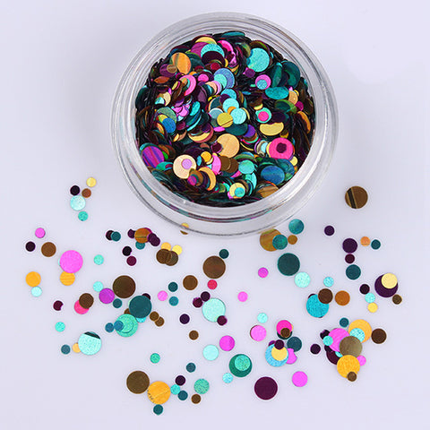 Colorful Round Nail Sequins Flakes Mermaid Fluorescent Paillette Flakies Manicure Nail Art Decorations