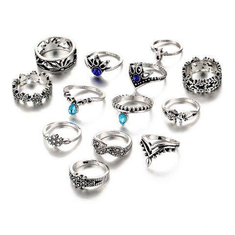 17KM Retro Flower Infinite Knuckle Rings For Women Vintage Geometric Pattern Crystal Rings Set Party Bohemian Jewelry 13 PCS/Set