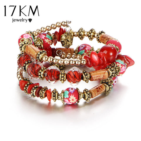 17KM Vintage Jewelry Bohemia Colorful Ball Bracelet & Bangles Long Ethnic Charm Bracelets for Women Tassel Pulseras Mujer Gift