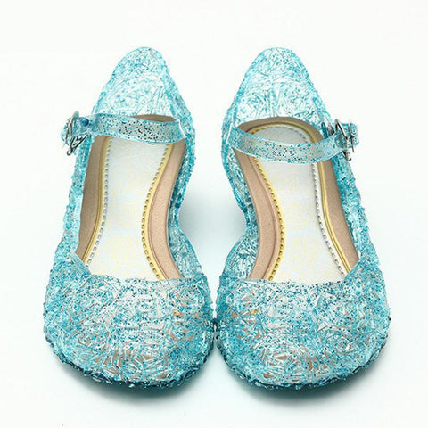Ice Colors girl Shoes Children Casual kids Shoes Girl Princess Shoes Hole Elsa Anna Blue Crystal Shoes PVC Solid Toddler JM10