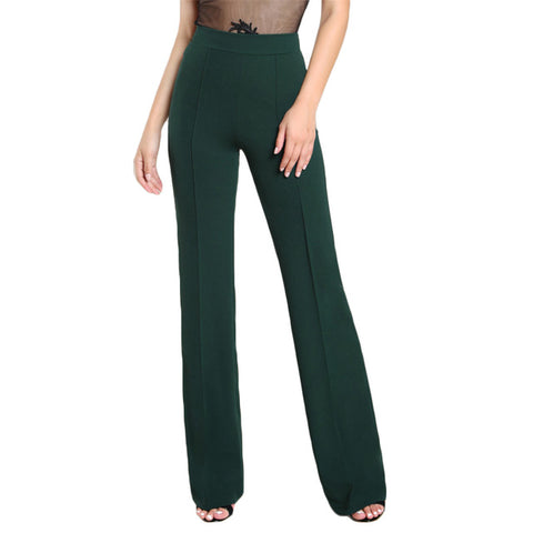 SHEIN High Rise Piped Dress Pants Army Green Elegant Pants Women Work Wear High Waist Zipper Fly Boot Cut Trousers