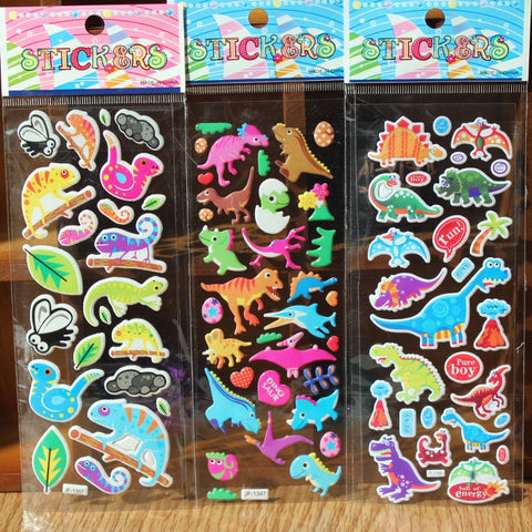 % 10 Sheets/lot 3D Cartoon dinosaur wall stickers Kids Toys Bubble stickers Teacher baby Gift Reward PVC Sticker Christmas gift