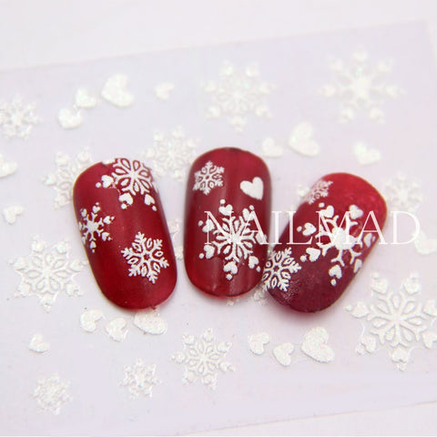 1 Sheet White Snowflake Nail Stickers Christmas Snow Nail Stickers 3D Adhesive Sticker