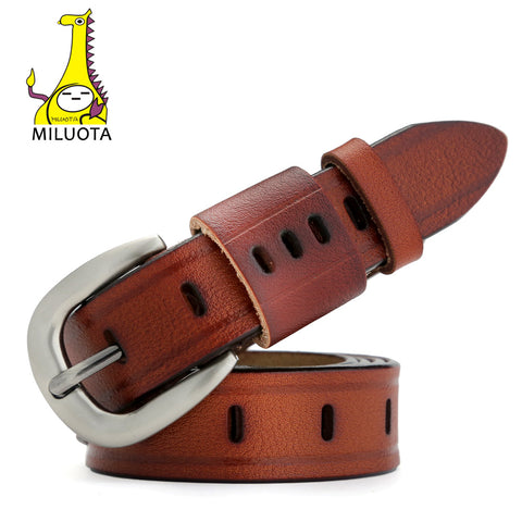 [MILUOTA] Fashion Belts for Women Vintage Strap Designer Genuine Leather Women Belt cinturones mujer MU031