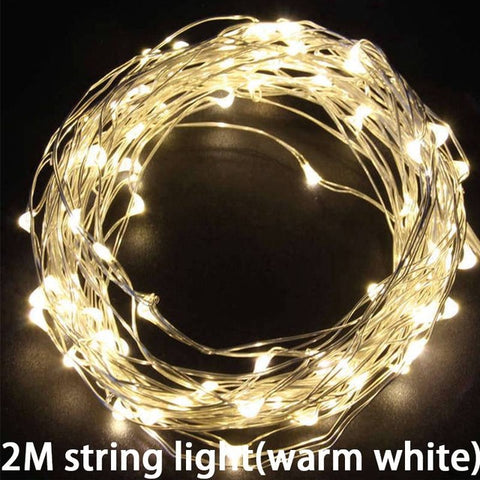 Led Copper Wire String Lights Romantic Wedding Fairy Light Decoration AA Battery Operated New Year Christmas Decor
