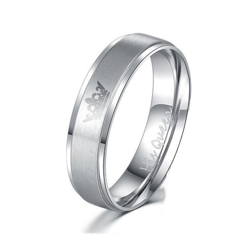 ZORCVENS Fashion DIY Her King and His Queen Stainless Steel Wedding Rings for Women Men