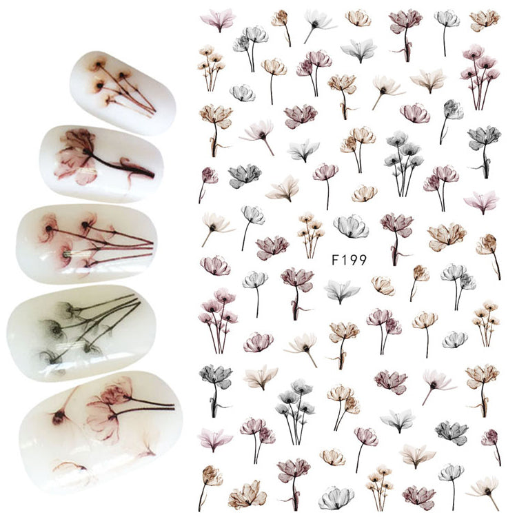 1pcs 3D Super Thin Nail Stickers Tips Nail Art Adhesive Decals Manicure Tool Dark Decoration Flower Nail Wraps F199