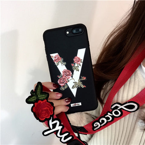 ZMASI for iPhone X 8 7 7s 6 6s plus Embossment Twining Roses V Words Soft TPU Back Case Cover with Embroidery Lanyard