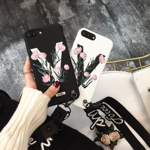 ZMASI Embossment V Words Soft Cell Case for iPhone X 8 7 6 6s plus Relief Roses TPU Back Case Cover with Embroidery Lanyard