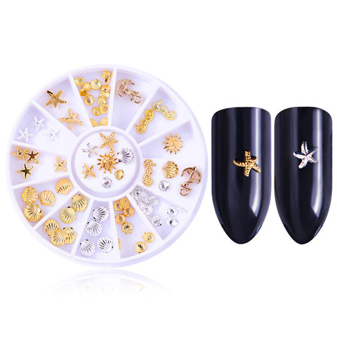 1 Box Mixed Color Heart Rivet Studs Rhinestones 3D Nail Decoration Love Design Manicure DIY Nail Art Tips Decoration in Wheel