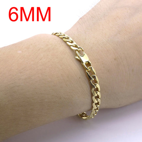 100% Stainless Steel Bracelet 6/8/12 mm 8 Inches Curb Cuban Chain Gold Color Bracelets for Men Women Free Shipping Factory Offer
