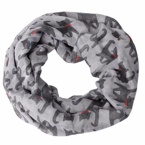 2017 Women's Scarves Lovely Cat Printed Soft Silk Voile Ring Scarf Shawl Mujer Wraps Foulard Femme Soie De Marque #YL10