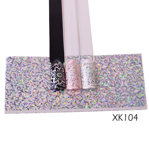 100cm Laser Nail Foil Sticker Holographic Flower Shiny Design Starry Transfer Paper Manicure Nail Art Decorations SAXK98-109