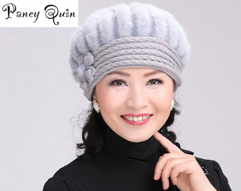 Women winter fur hat cap Set flowers Caps