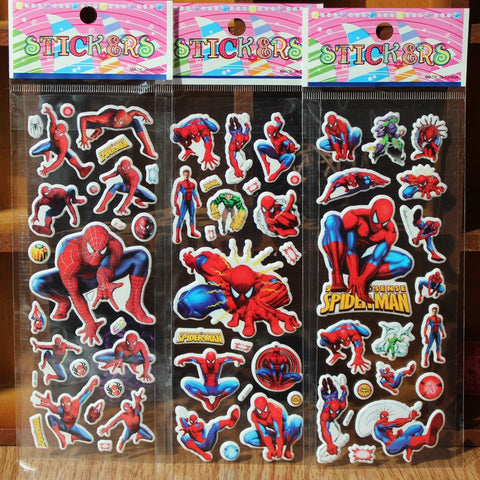 % 10 Sheets/lot 3D Cartoon Spiderman wall stickers Kids Toys Bubble stickers Teacher baby Gift Reward PVC Sticker Christmas gift