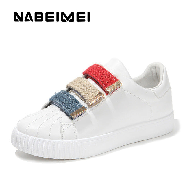 Breathable white shoes hook loop massage ladies shoes fabric solid sneakers shoes round toe sewing  women casual shoes