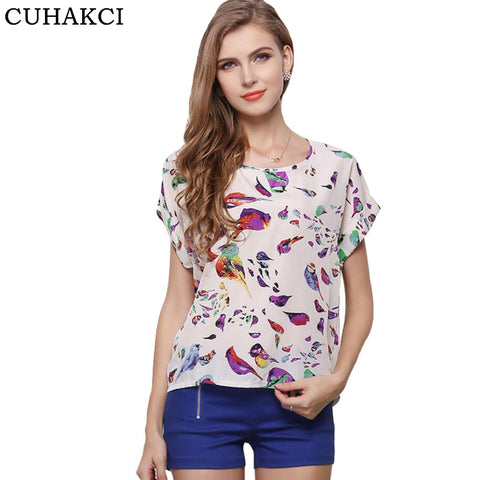 CUHAKCI Summer Women Sunflower Bird Chiffon Print Blouse Stripe Plaid Shirt Cross Love Blouse Short Sleeve Blue Lipstick Shirts