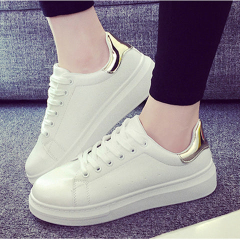 Hot 2017 New Ladies Casual Shoes, Breathable White Women Sneakers Fashion Female Flat Heel Casual Girl Shoes Woman