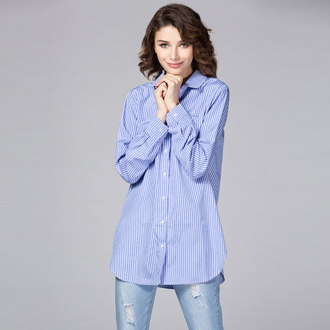 [EAM] 2018 Spring Lapel Fashion New Long Sleeves Solid Color Blue Striped Long Paragraph Loose Women Shirt Tide G01605