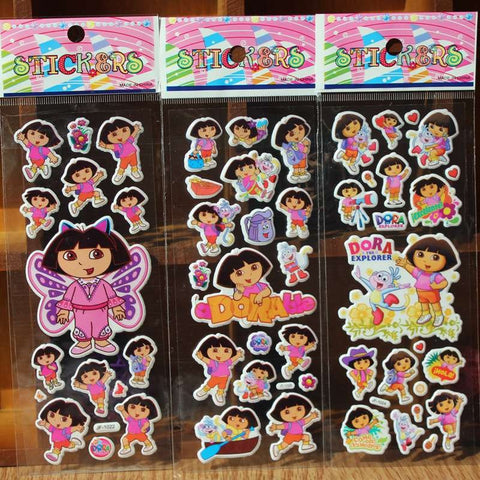 % 10 Sheets/lot 3D Cartoon Princess Dora   wall stickers Kids Toys Bubble stickers Teacher baby Gift Reward PVC Sticker
