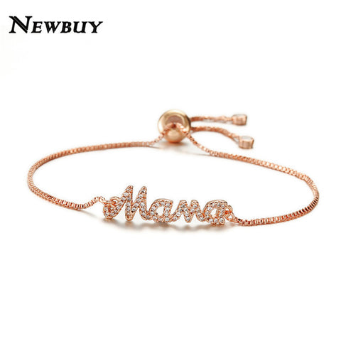"NEWBUY 2018 New Fashion ""Mama"" Charm Bracelet For Women Bracelet & Bangle Adjustable Pulseras Mujer Micro Pave CZ Jewelry Gift"
