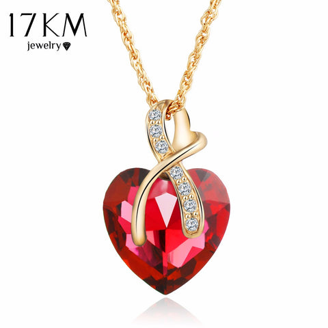 17KM Fashion Jewelry 4 colors Austrian Crystal Heart Pendant Necklace For Women Gold Color Love Necklaces & Pendants Collares