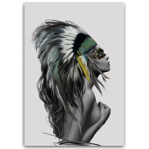 BIANCHE WALL Nordic Fashion Native American Indian Girl Feathered Poster Wall Art Canvas Painting Picture for Home Decoration