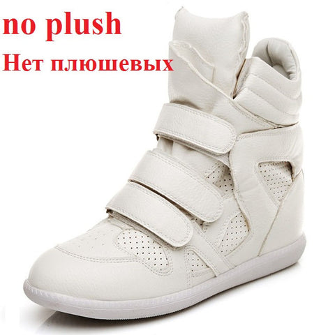 White Women Sneakers High Top Hidden Wedges Casual Shoes Basket Femme Ankle Boots Shoes For Women  Hook & Loop 35-41
