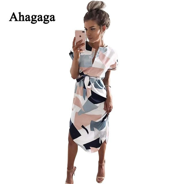Ahagaga 2018 Summer Dress Women Fashion Print Elegant Cute Sashes O-neck Sexy Slim Sheath Dress Women Dresses Vestidos Robes