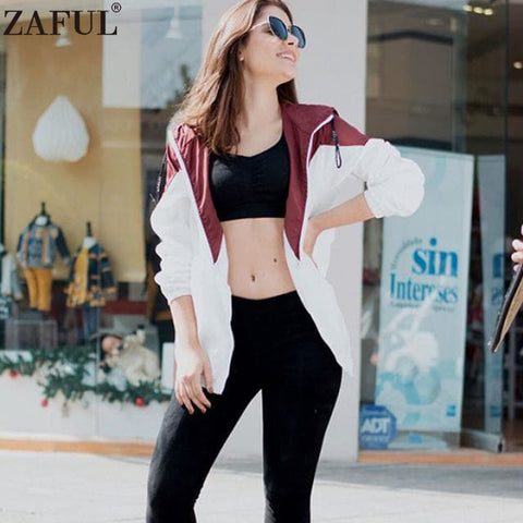 ZAFUL Spring Autumn Fashion Hooded Two Tone Windbreaker Jacket Zipper Pockets Casual Long Sleeves Feminino Coats Outwear New
