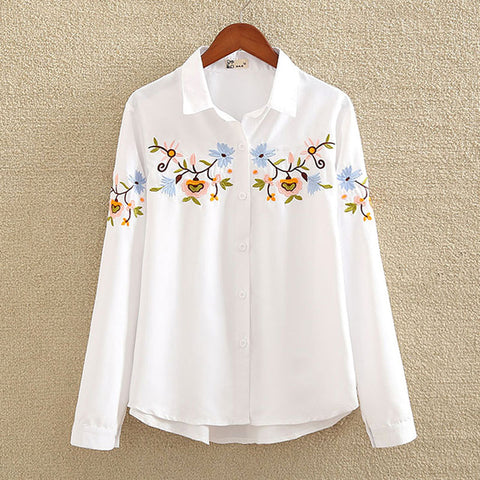 nvyou gou 2018 Floral Embroidered Blouse Shirt Women Slim White Tops Long Sleeve Blouses Woman Office Shirts  plus size