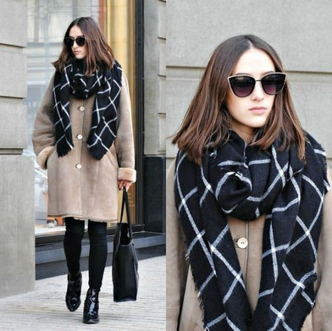 1PC 2018 195CM * 75CM New Lady Women Blanket black white Plaid Cozy Checked Tartan Scarf Wraps shawl