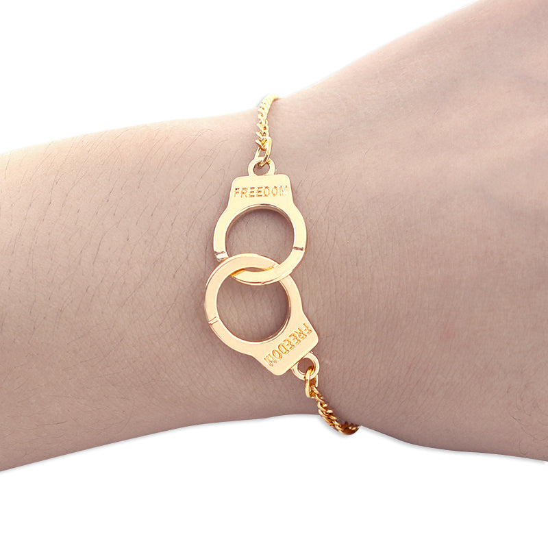 Trendy Handcuffs Bracelets For Women Carved FREEDON Couples Lock Bangles Fashion Jewelry Lover Valentines Day Gifts