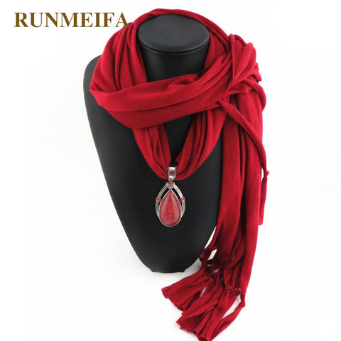 RUNMEIFA Brand New style Arrival Charms Scarf jewelry Pendant Scarf Jewelry Polyester Scarves Necklace Scarf Free Shipping