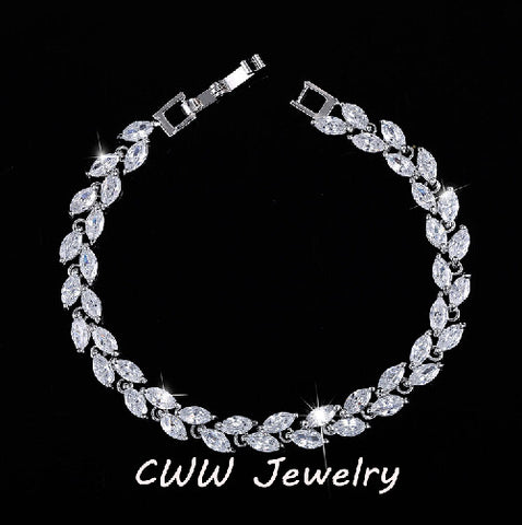 CWWZircons New Trendy 2018 Cubic Zirconia Jewelry Silver Color Leaf Charm CZ Crystal Female Bracelets Bangles For Women CB060