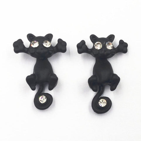Sale 1Pair Fashion Multiple Color Classic Fashion Kitten Animal Jewelry Cute Cat Stud Earrings For Women Girls