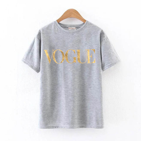 2018 Fashion Summer T Shirt Women VOGUE Printed T-shirt Women Tops Tee Shirt Femme New Arrivals Hot Sale harajuku female T-shirt