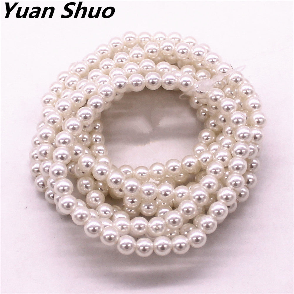 Fashion new diameter 6 mm imitation pearl 8  combined lady elastic bracelet 2016 free shipping manufacturers direct wholesale