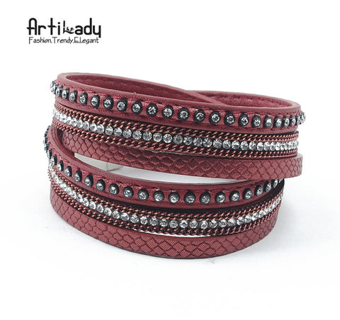 Artilady  wrap leather bangle charm winter leather bracelet women jewelry BW dropshipping