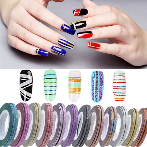 1mm 12 Color Glitter Nail Line Tape Sticker Set Art Decorations DIY Tips For Polish Nail Gel Rhinestones Decorat New Ho