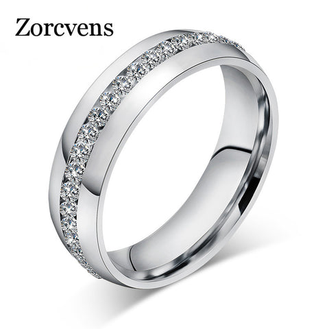 ZORCVENS Vintage Crystal Rings for Women Stainless Steel Jewerly Christmas Gifts