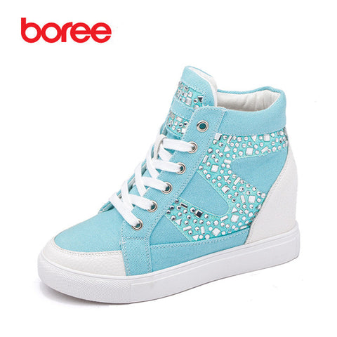 Women 's Fashion Height Increasing Casual Shoes Breathable Denim Fabric Diamond Classic High-Top Mujer Zapatos Casuais 80806