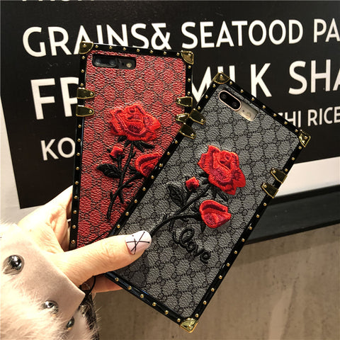 luxury brand Square embroidery 3d rose flower case for iphone 7 girl phone cases for iphone x 6 6s 8 7 plus cover with lanyard