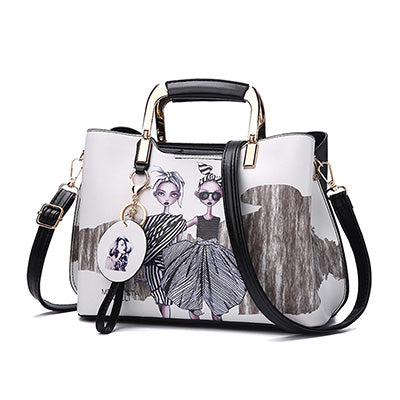 d1e08703ea YOUNNE Women Handbag Fashion Style Female Painted Shoulder Bags Flower  Pattern Messenger Bags Leather Casual Tote. Sale