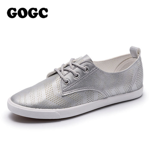 GOGC 2018 New Style Women Shoes with Hole Breathable Women Flat Shoes Women Sneakers Casual Shoes Summer Spring Lace-Up footwear