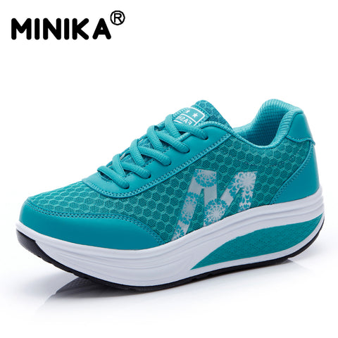 Minika Tenis Feminino Light Weight Women Casual Shoes Breathable Mesh Walking Women's Flats Shoes Swing Wedges Shoes Zapatos