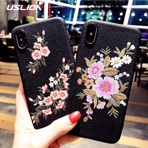 USLION For iPhone 7 Plus Embroidery Rose Flower Plum Blossom Phone Case Soft TPU Silicon Cases Cover For iPhoneX 8 7 6 6s Plus