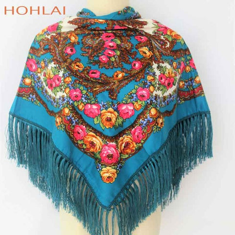Luxury Brand Printing Oversize Square Blankets Russian Women Wedding Scarf Retro Style Cotton Handkerchief Autumn Winter Shawl