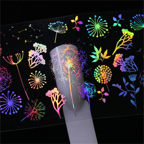 10 Pcs Holographic Nail Foil Rose Panda Butterfly Dandelion Fire Love Valentine's Day Nail Art Transfer Sticker Nail Art